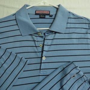 Sz M Blue Striped Vineyard Vines Cotton #09S Polo